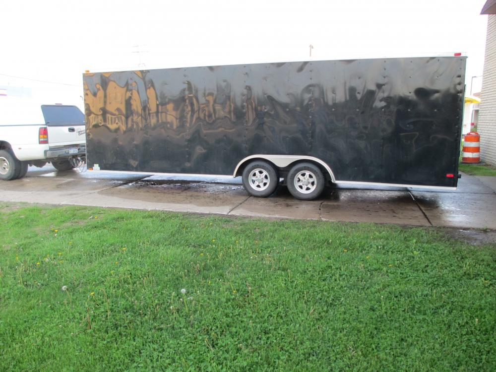 2014 Diamond Cargo 24' V-Nose Black Enclosed Car Trailer w/Tandem 5200 Lb Axles, Aluminum Wheels