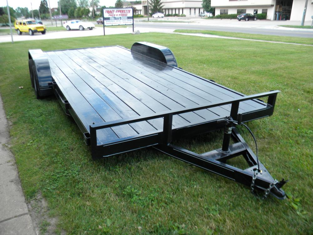 Trailer 16 + 2, 18 Foot Wood Deck Tandem Axle Flatbed Car Trailers, New, (Used Also Available)