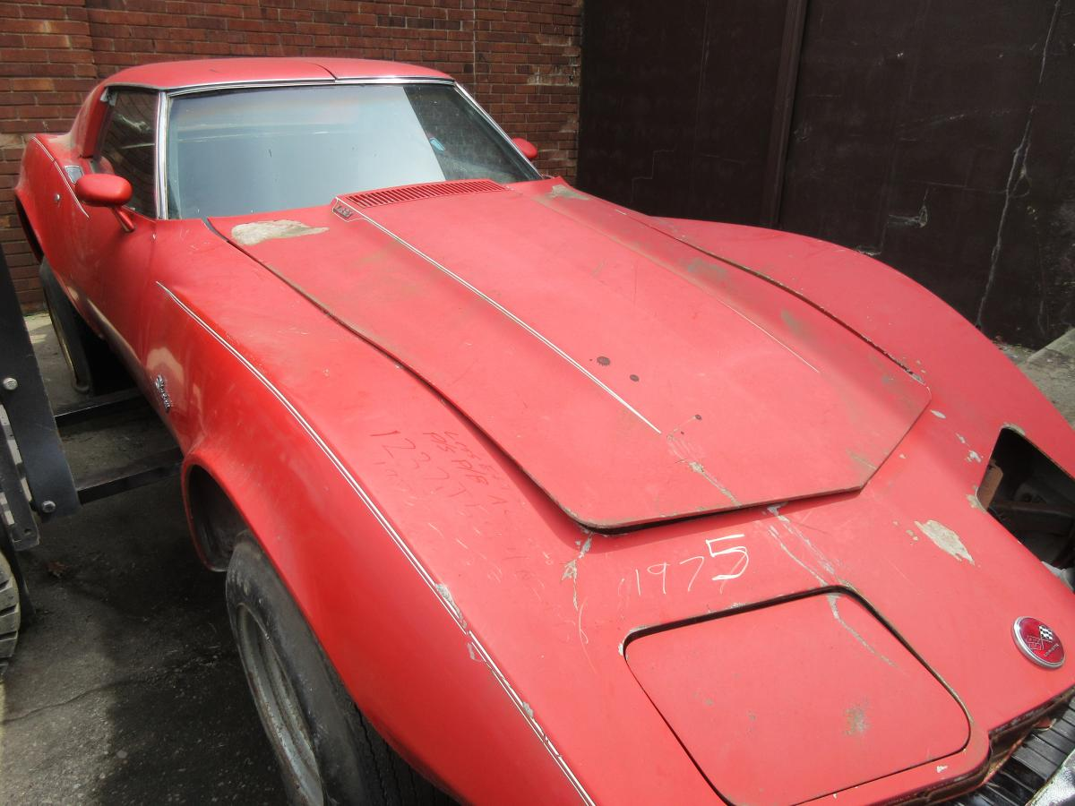 1975 Corvette Coupe Red Parts Car Less Eng & Trans, L-82 P/S P/B AC Auto