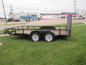 2015 14' Wood Deck Lawn Equipment Trailer with Expanded Metal Removable Rear Ramp Gate