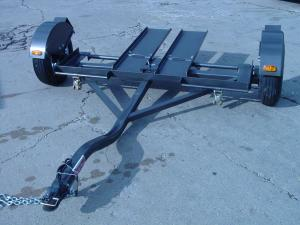 "New Heavy Duty Tow Dolly with Hydraulic Surge Brakes, 14"" Tires, Turntable, Ratchets and Tie-Down Straps"